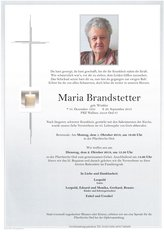 Maria Brandstetter, verstorben am 26. September 2018