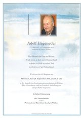 Adolf Hageneder, verstorben am 25. September 2016