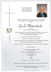 Gisela Muttenthaler, verstorben am 06. November 2016