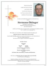Hermann Öhlinger, verstorben am 15. August 2014