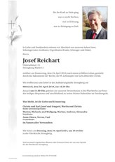 Josef Reichart, verstorben am 24. April 2014