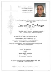 Leopoldine Stockinger, verstorben am 11. April 2014